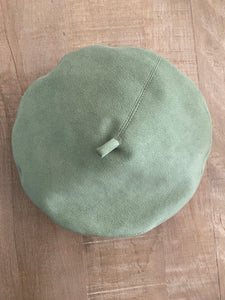 Faux suede green beret
