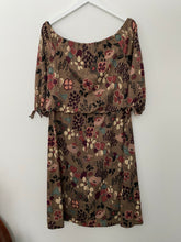 Load image into Gallery viewer, Off the shoulder brown dress, 1960's