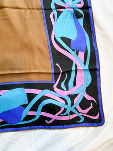 Swirls and Ribbons Silk Vintage Scarf, 1960's