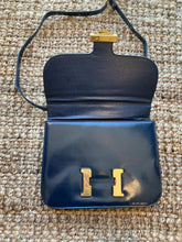 "Load image into Gallery viewer, Navy Blue Handbag with Gold ""H"" Enclosure"