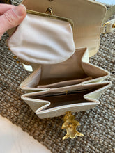 Load image into Gallery viewer, Faux White Ostrich Skin Handbag with gold Clasp