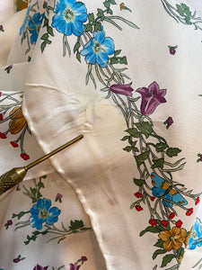 White floral silk scarf, 1970's