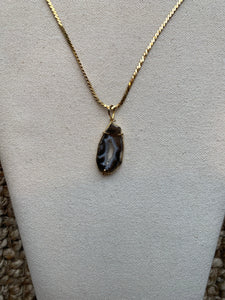Banded Agate with Druzy Center Necklace