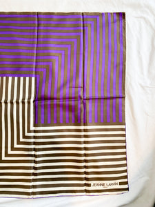 Purple Stripe Black and White Vintage Scarf, 1960's