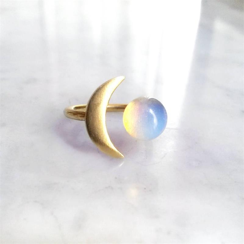 Crescent Opal Moon Ring