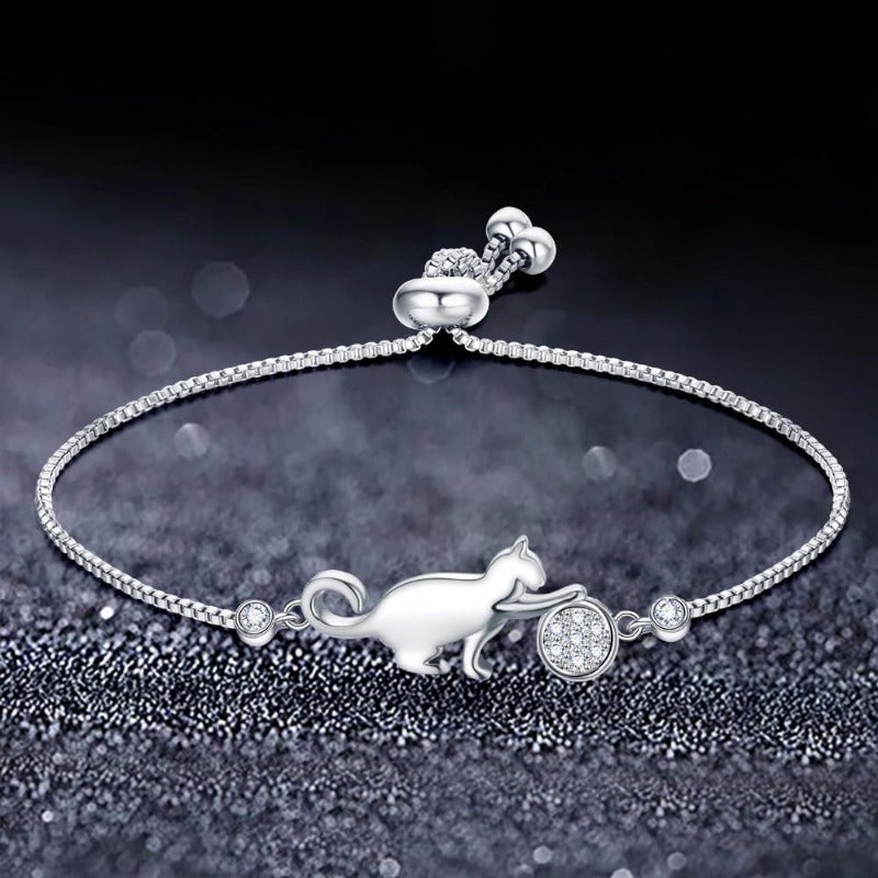 Cat Play Crystal Charm Bracelet