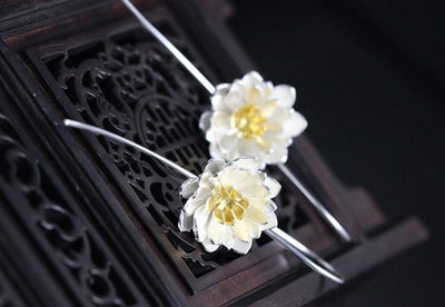 Elegant Lotus Drop Earrings