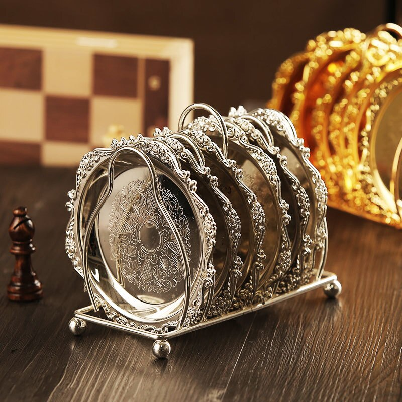 Classical Metal Coaster Set (6-Pcs)