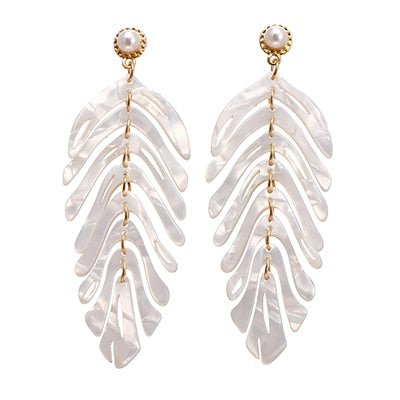 Dangle Leaf Ivory Earrings
