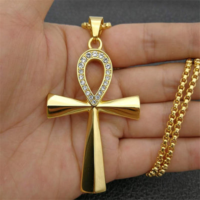 Studded Ankh Cross Pendant