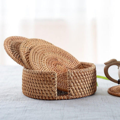 Handwoven Rattan Coaster Set
