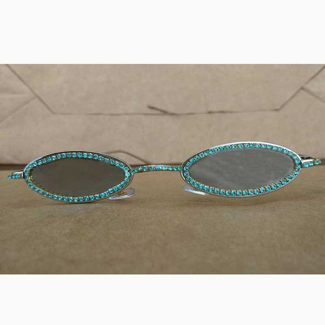 Vintage Diamond Oval Sunglasses - Women