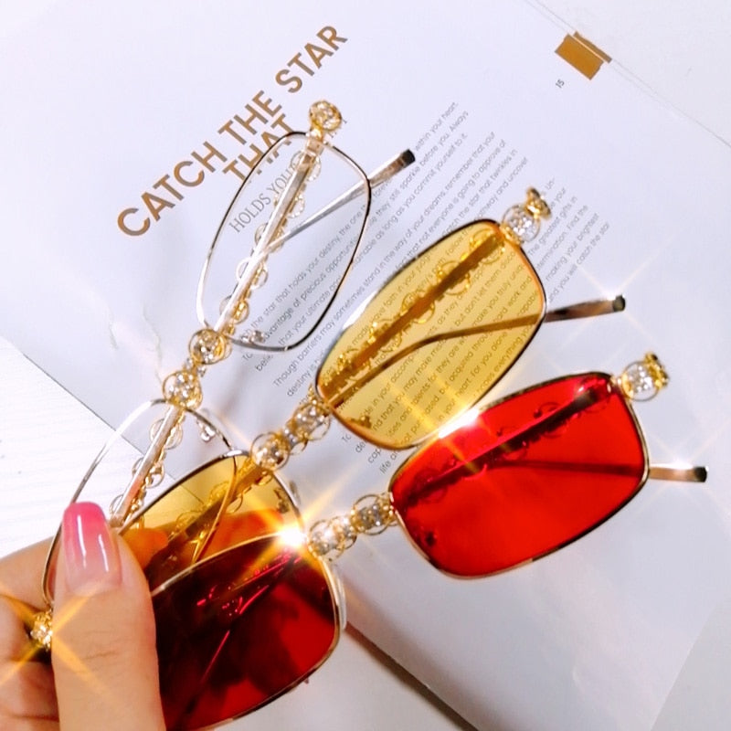 Designer Luxury Diamond Rectangle Sunglasses - Women