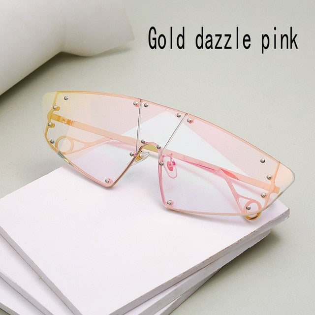 Vintage Rimless Mirror Sunglasses - Women