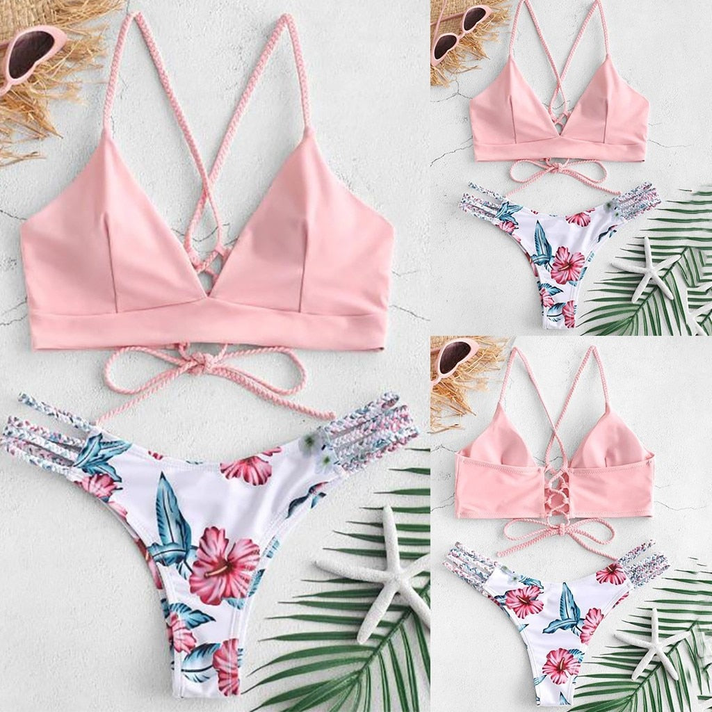 Bikini Cut Flower Two Piece Swimsuit - Push up