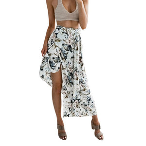 Bohemian Print Banded Skirt Cover Up Skirt