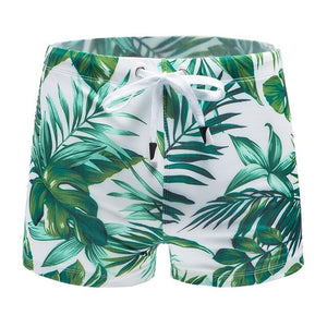 Leaf Print Hawaiian Men's Swimming Shorts