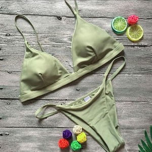 High Waist Push-Up Padded Bra Bikini Set - Pure Color