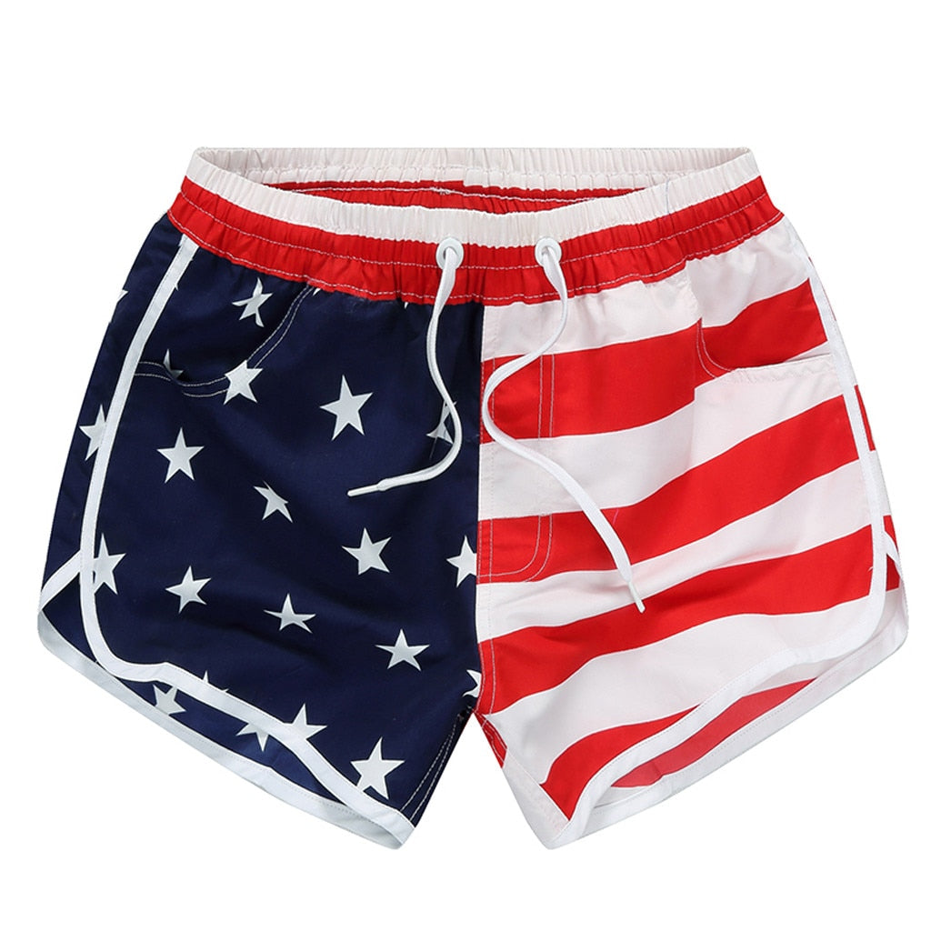 American Flag Stripes Stars Print Swim Shorts - Beach Pants