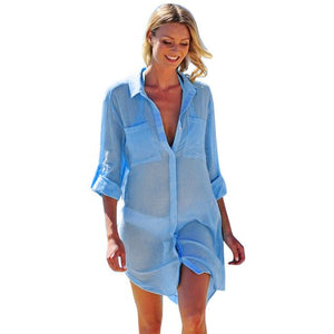 Beach Cover Up Button Down Pocket Button Shirts