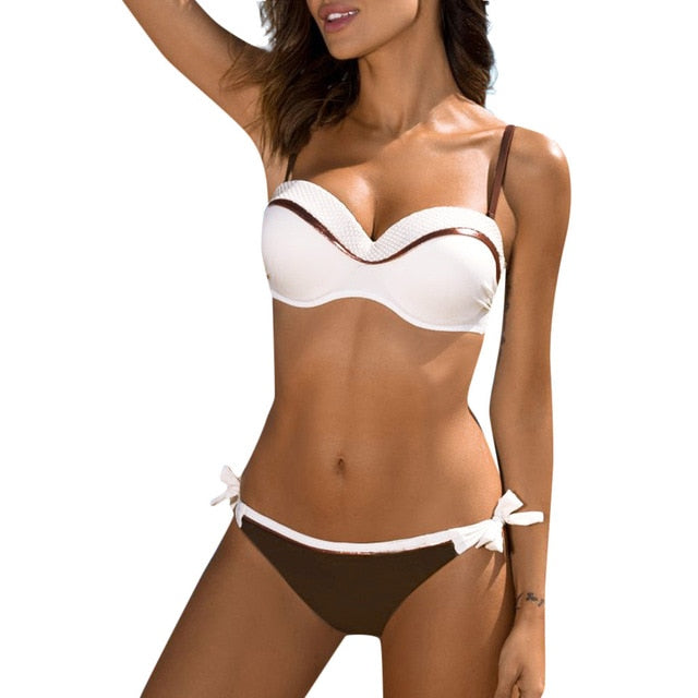 Bikini Sequined Patchwork Swimwear Set - Push-up UnPadded Bra