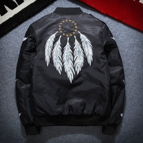 Spring Feather Embroidery Bomber Jacket