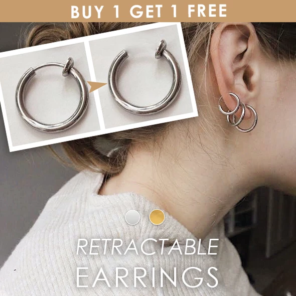 "Retractable Earrings <span style=""color:red;font-weight:bold;"">(BUY 1 GET 1 FREE)</span>"