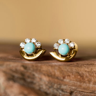 Cozumel Stud Earrings Gold - Turquoise