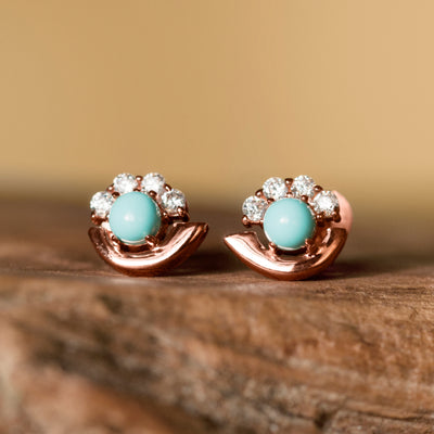 Cozumel Stud Earrings Rose Gold - Turquoise