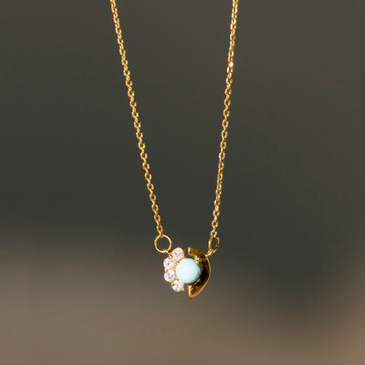 Cozumel Necklace Gold - Turquoise