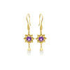 Amethyst long flower earrings in gold vermeil