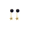 Black pearl and star earrings with multicoloured zirconia stones in gold vermeil