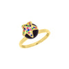 Star and black pearl ring with multicoloured zirconia stones, in gold vermeil