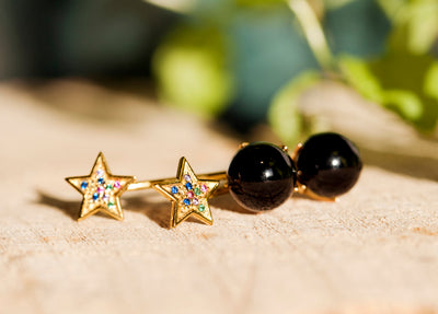 Luna Estrella Stud Earrings - Gold