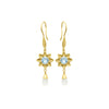 Blue topaz long flower earrings in gold vermeil