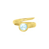 Blue topaz wrap around ring in gold vermeil.