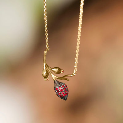 Limpias Necklace Gold - Red Zirconia