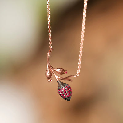 Limpias Necklace Rose Gold - Pink Zirconia