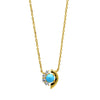 Turquoise and white zirconia pendant in gold vermeil