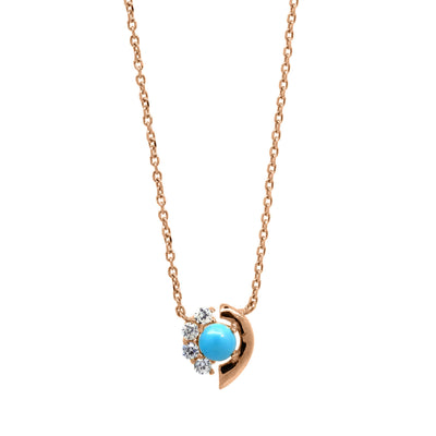Turquoise and white zirconia pendant in rose gold vermeil