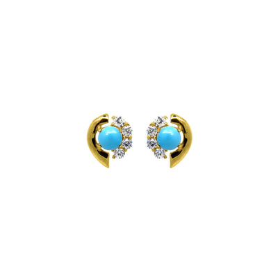 Turquoise and white zirconia stud earrings in gold vermeil