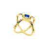 Pyramid shaped cross bones ring with an array of colourful zirconia stones in gold vermeil