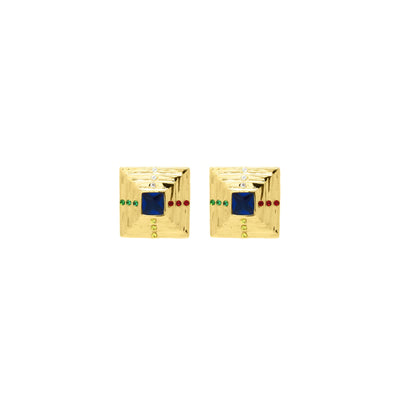 Pyramid shaped studs with an array of multicoloured zirconia stones in gold vermeil