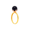 Black pearl ring in gold and rose gold vermeil