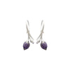 Limpias hook earrings with purple zirconias in sterling silver