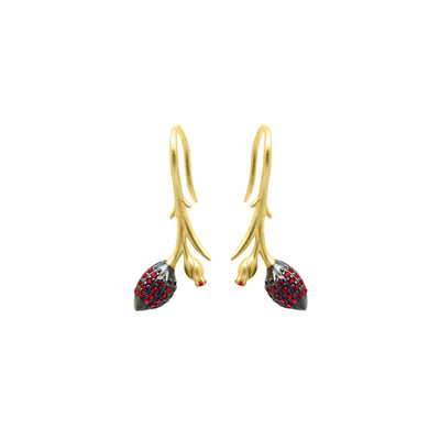 Limpias hook earrings with red zirconias in gold vermeil