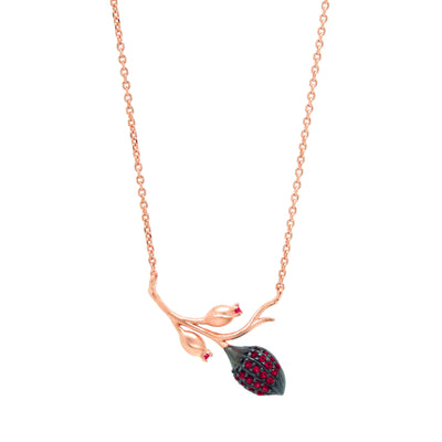 Branch shaped pendant necklace with a cocoa pod and flower buds, with pink zirconia stones in rose gold vermeil
