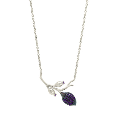 Branch shaped pendant necklace with a cocoa pod and flower buds, with purple zirconia stones in sterling silver