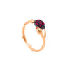 Branch shaped ring with a cocoa pod and flower bud, with pink zirconia stones in rose gold vermeil