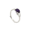 Branch shaped ring with a cocoa pod and flower bud, with purple zirconia stones in sterling silver